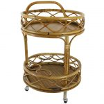 Simple wood top cart in round shape with bamboo frame and base plus casters
