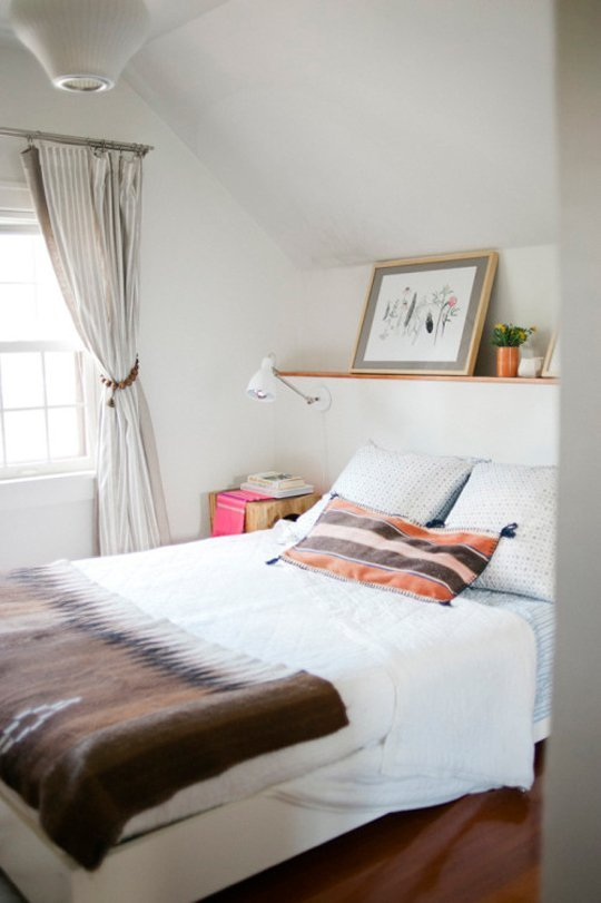 Simple Wooden Shelf Over The Bed A Frame Without Headboard White Comforter With Brown