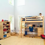 Simple wooden toddler size loft bed with desk and ladder