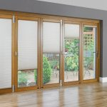 Sliding Glass Door Coverings With Grey Wall And Hardwood Floor