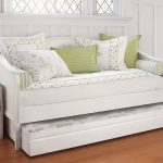 Small White Contemporary Daybed Covers With Green Leaves Pattern