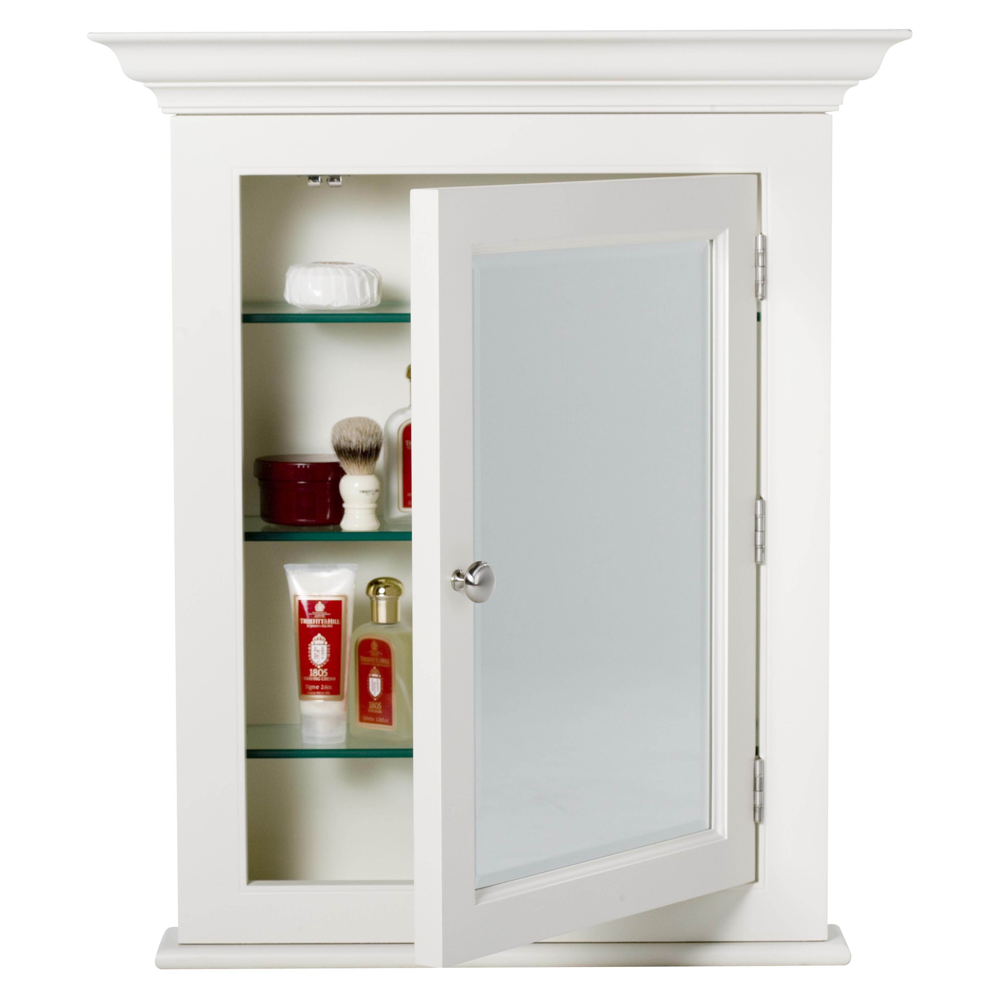 Small Wooden White Recessed Medicine Cabinet No Mirror