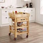 Small butcher block cart with wheels and drawer
