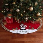 Snowman Design With Red Stripped Color Of Christmas Tree Personalized Tree Skirts