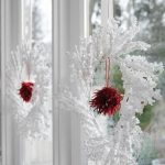 Snowy wreaths idea for windows