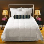 Soft and white cal king bed comforter set a pair of black metal bedside tables with a pair of table lamps