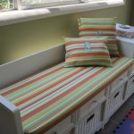 Stripped Bench Pads Indoor With White Bench And Storage