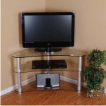 Tall corner glass TV stand idea