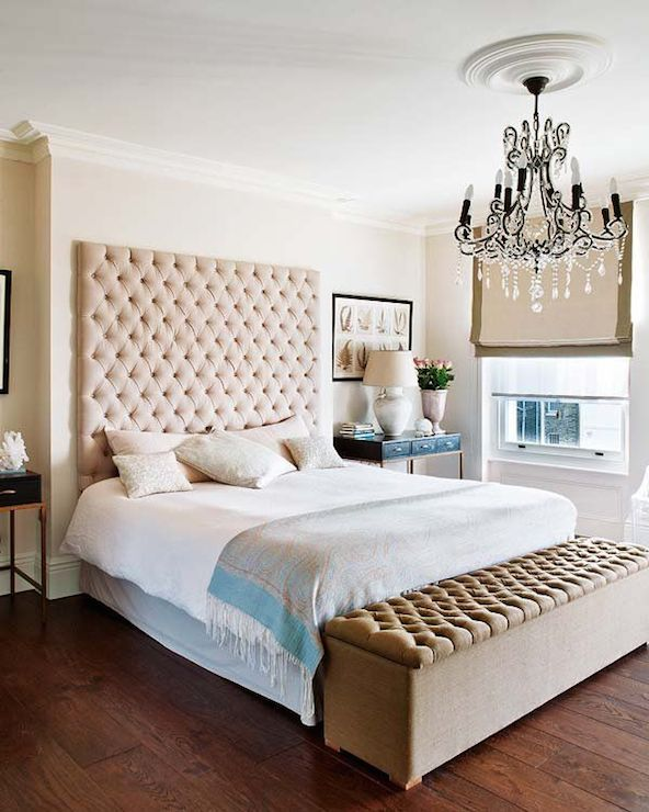 Tall Upholstered Headborad Mounted On Wall Bed End Bench Idea Luxurious Crystal Chandelier Vintage Styled