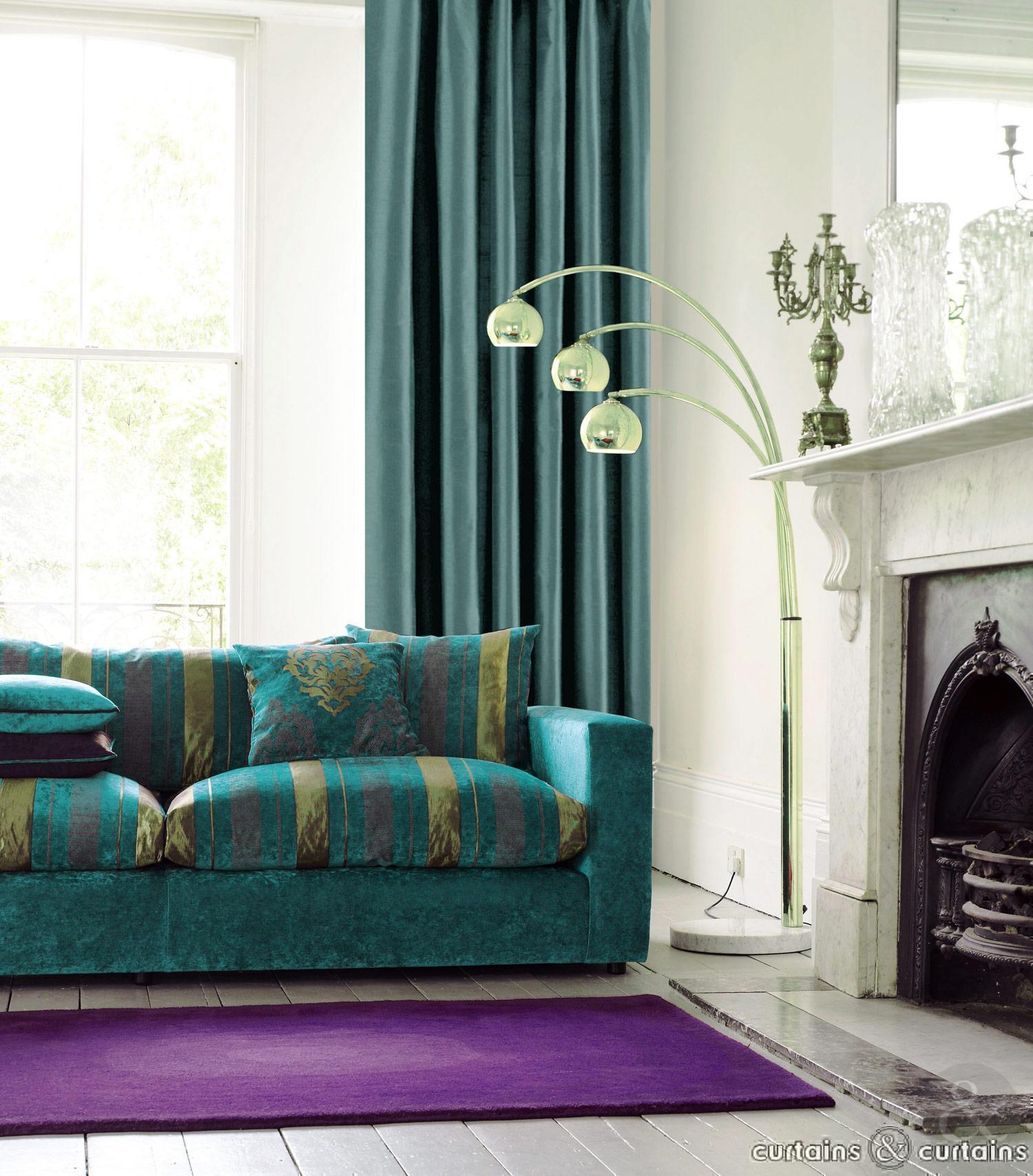 Beautiful teal living room decor homesfeed for Teal and purple living room