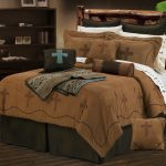Thick brown bed comforter set for king sized bed frame with rustic headboard