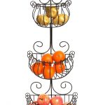 Three Sections Of Wrought Iron Wall Mounted Fruit Basket