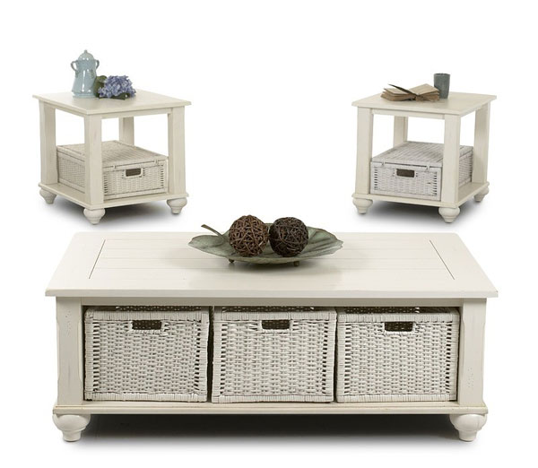 Three Design Ideas Of White Wooden Coffee Tables With Coated Baskets