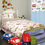 Toddler bed frame idea in full size with car themed bed comforter set