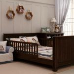 Toddler full sized bed frame with side rails headboard and footboard in dark finishing
