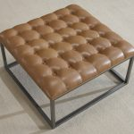 Tufted leather Ottoman coffee table in brown