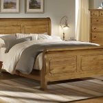 Unfinished wood Sleigh bed frame with less curved headboard and lower footboard