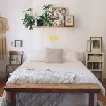 Unfinished wood shelf above the bed idea white bed frame  unfinished wood bed end bench idea a bookshelf as bedside table a wooden chair with black metal legs