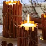 Unique and creative candle wrappers as handmade Christmas centerpiece with candles