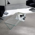 Unique and creative clear glass coffee table idea with mirror side