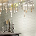 Unique mirror mosaics idea with some units of decorative candlebar stands