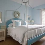 Vintage Look Beachy Bedroom Design With Metal Bed Frame Plus Metal Framed Blue Headboard And Built In Round Bed Curtain Rod Over Bed Thick And Warm White Bed Comforter Set With Blue Line Decoration