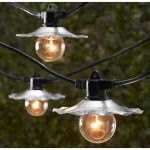Vintage styled string lights idea with metal shades