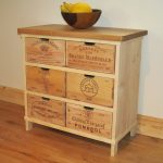 Vintage wine crate console table idea with wood top