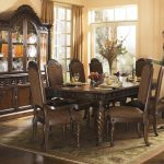 Warm Brown Formal Dining Room Sets For 8 With Glass Door Hutch