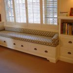 White Bench Set With Cabinet And Decorative Bench Pads Indoor