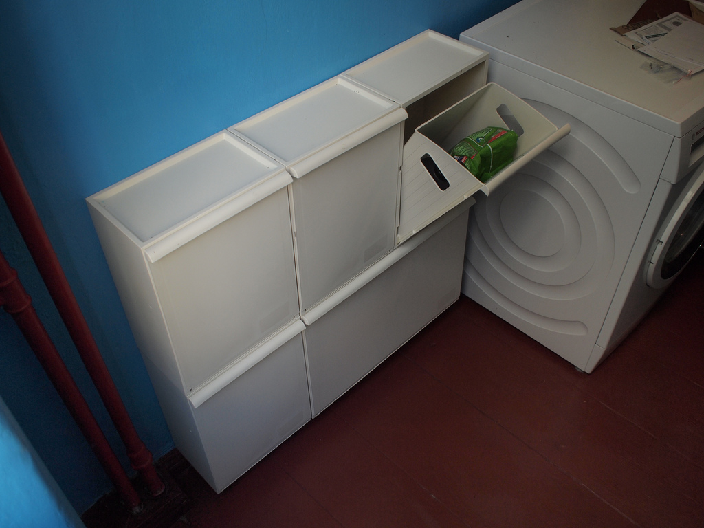 White Cabinet Of Ikea Recycle Bins With Six Storage