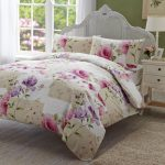 White Floral Better Homes And Gardens Sheets With Side Table And Drawers Small Lamp And Fur Rug