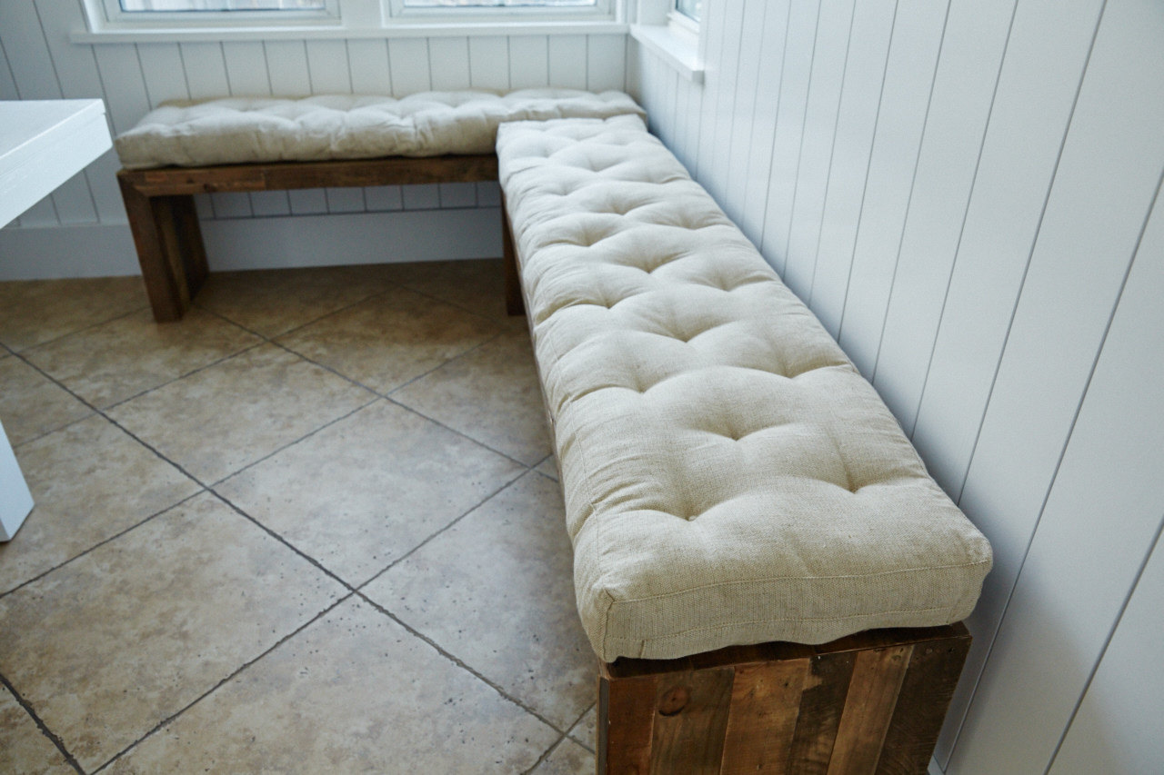 White Long Bench Pads Indoor With Rustic Wooden Design