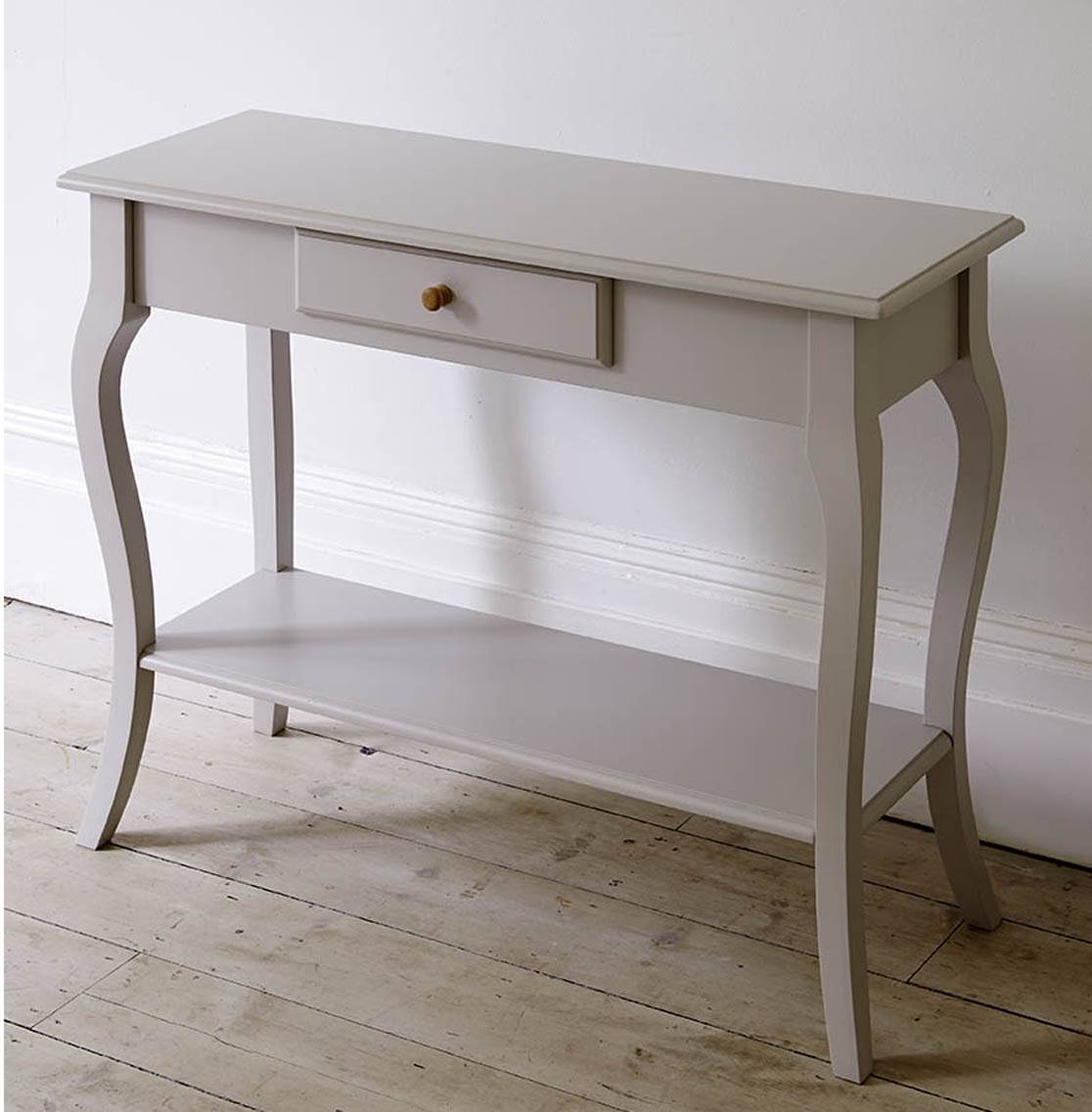 White Shallow Console Table With Drawer And Rack