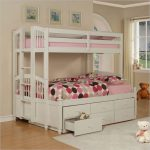 White Small Bunk Beds For Toddlers With Pink And Polcadot Bedding Plus Extra Drawers
