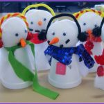 White Snowman With Scarf For Christmas Crafts To Make At Home