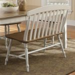 White Wooden Dining Room Benches With Backs On Decorative Rug