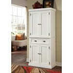 White Wooden Door And Single Cabinet Of Free Standing Linen Closet