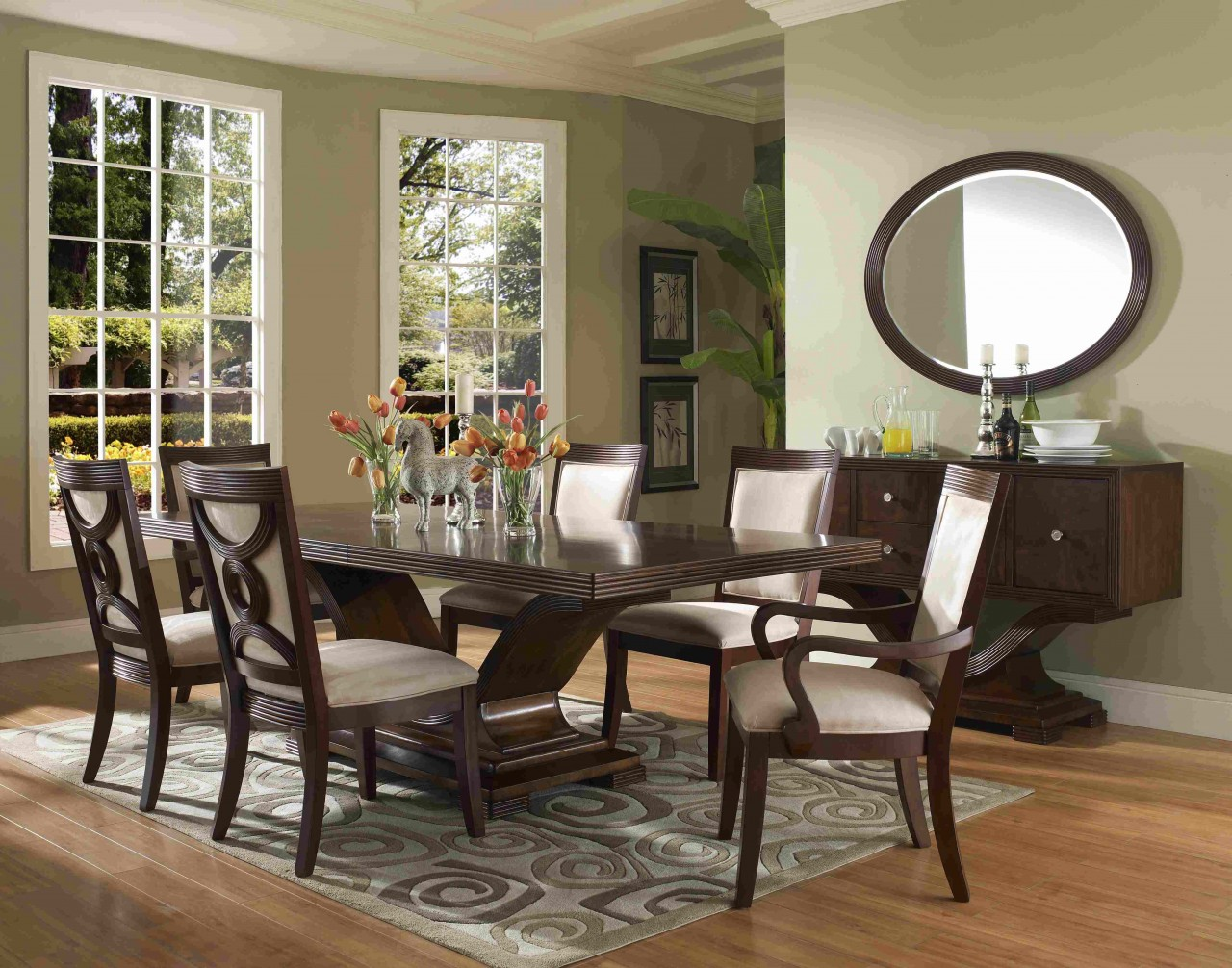 White round dining table for 6 for Formal dining room collections