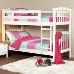 White Wooden Small Bunk Beds For Toddlers With Fur Rug And Small Cabinet