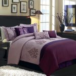 White and purple king size comforter set black bedside table white bedroom rug black bedroom vanity black framed mirror