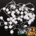 White and warm string lighting fixture for outdoor