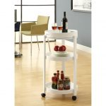 White elegant round wine cart idea with black casters