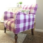 White purple buffalo check upholstered chair in vintage style
