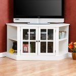 White tall TV desk with glass door cabinet and side shelving units for corner spot