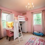 White wooden made loft bed frame with desk ladder and closet storage for girls