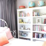 Wonderful Triple Target Book Cases With White Design And White Bedding With Grey Curtains