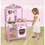 Wood toy kitchen idea in white and pink colors