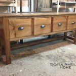 Wooden Extra Long Sofa Table With Four Storage Places