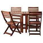 Wooden Outdoor Bistro Set Ikea With Rectangular Table And Four Chairs
